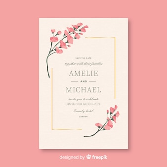 Pink wedding invitation template in flat design