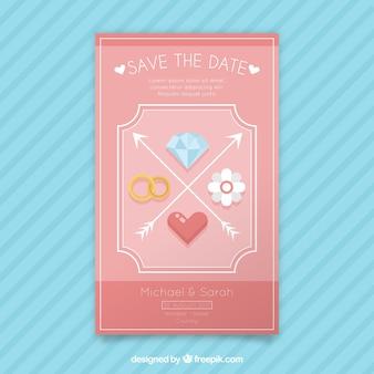 Invito di nozze rosa con elementi decorativi