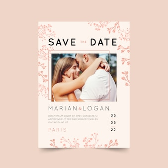 Pink wedding invitation with photo