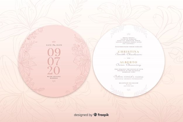 Pink wedding invitation with a simple design