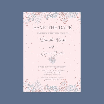 Pink whimsical, save the date wedding invitation card