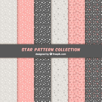 Pink, white and black star pattern set