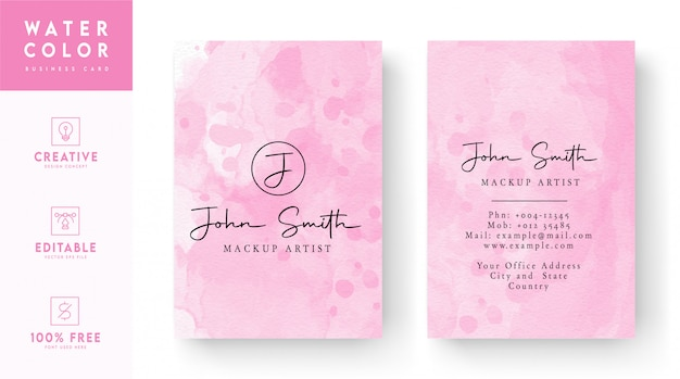 Pink and white mixed watercolor business card