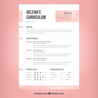 Pink and white resume design Premium Vector