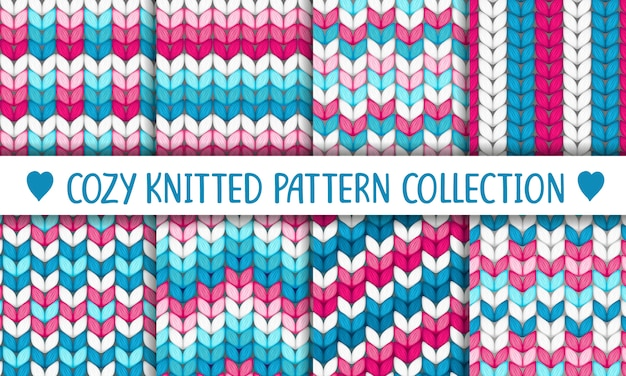 Pink, white and turquoise collection of knitted seamless patterns