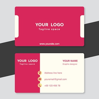 Pink and white visiting card template
