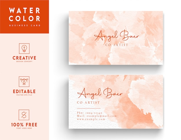 Pink and white watercolor business card  -  colorful  identity card template design
