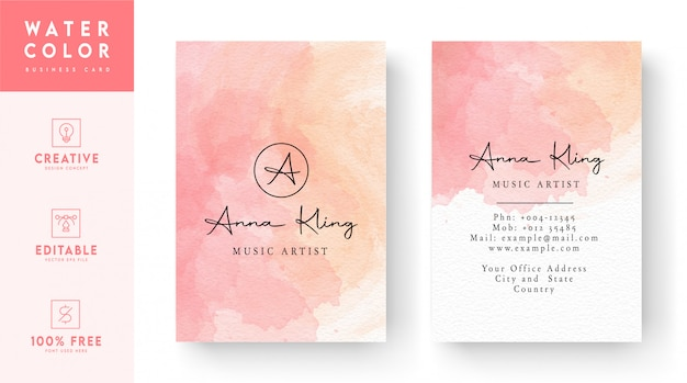 Pink and white watercolor vertical business card template