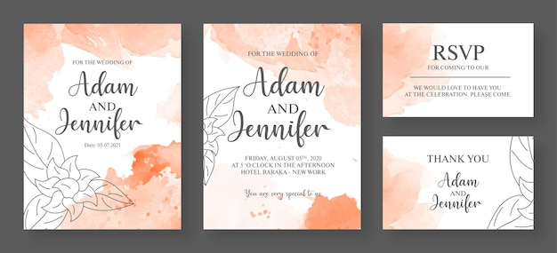 Pink and white wedding invitation card premium template - watercolor invitation card
