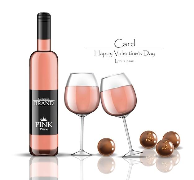 핑크 와인 병 및 초콜릿 벡터 현실적인 삽화와 함께 두 잔