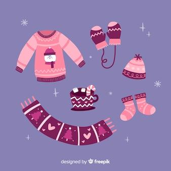 분홍색 겨울 옷 팩