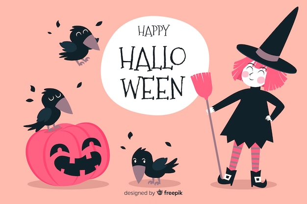 Pink witch and black crows halloween background