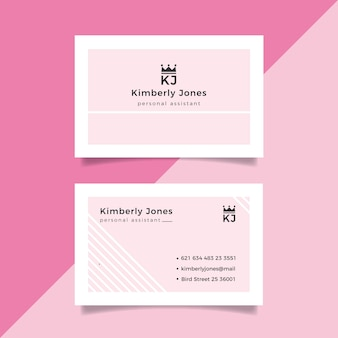 Pink with white lines minimal business card template