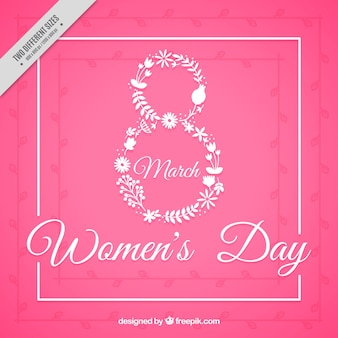 Pink woman's day background with eight made of flowers
