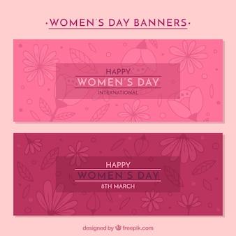 Bandiere di giorno delle donne rosa con decorazione floreale