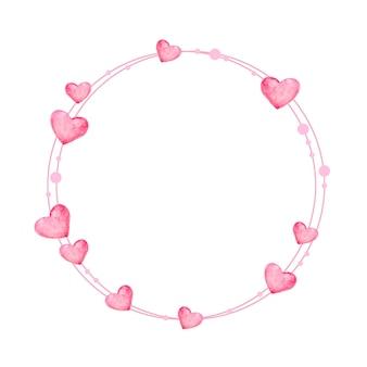 발렌타인 핑크 화환. 손으로 그린 수채화에 핑크 하트와 우아한 꽃 모음