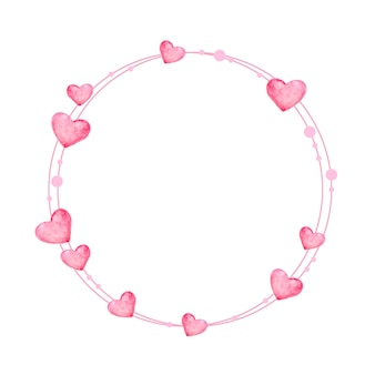 Pink wreath for valentine's day. elegant floral collection with pink hearts in watercolor hand-drawn