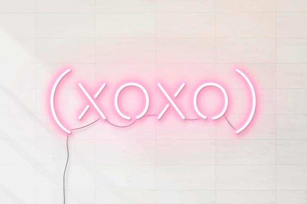 ピンクのxoxoネオンワード 無料ベクター