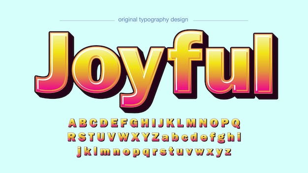 Pink and yellow 3d cartoon typography