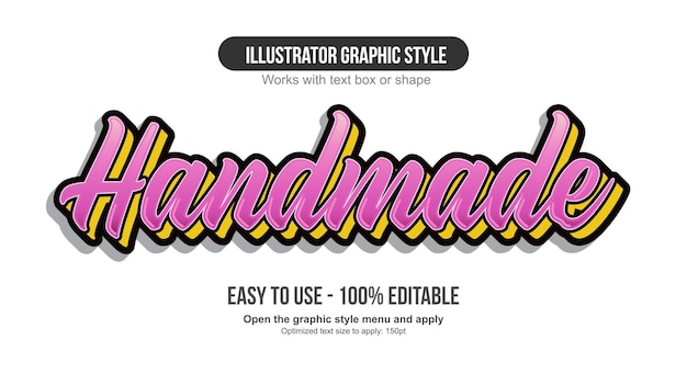 Pink and yellow calligraphy lettering text effect