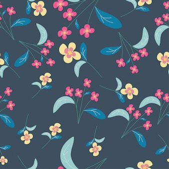 Pink and yellow cute flower seamless pattern background
