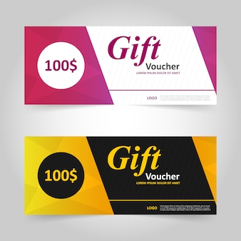 Pink and yellow gift voucher banner design
