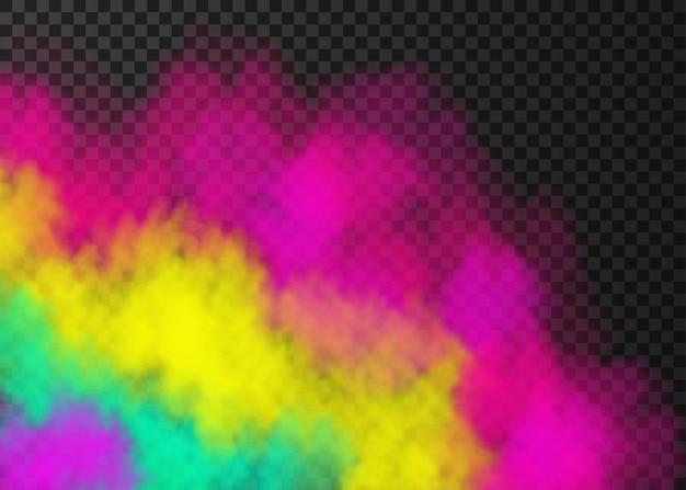 Розовый желтый зеленый дым, изолированные на прозрачном фоне