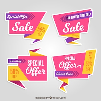 Pink and yellow origami discount stickers