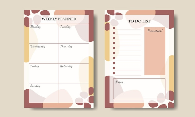 Pink yellow pastel abstract shape weekly planner to do list template printable