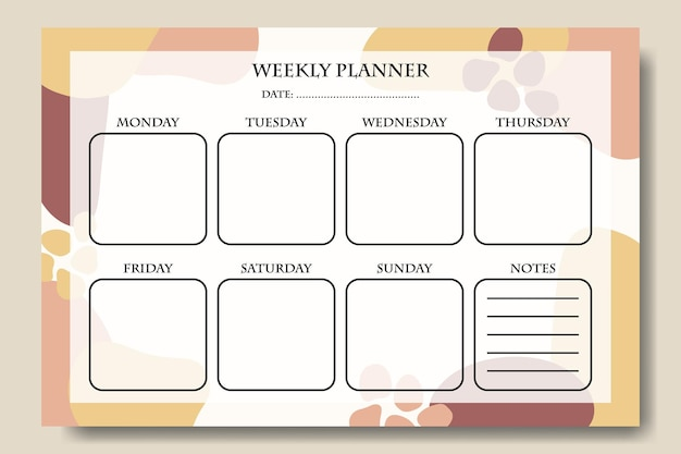 Pink yellow pastel abstract shape weekly planner template printable