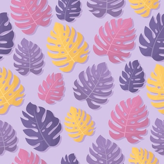 Pink yellow purple monstera leaves on a light background