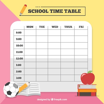 Pink and yellow school timetable template