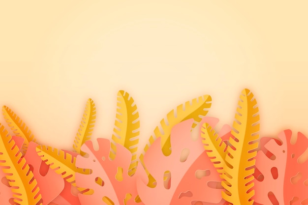 Pink and yellow tropical leaves background Free Vector