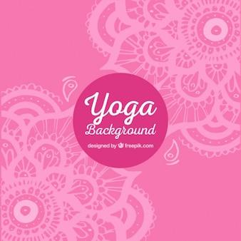 Sfondo rosa yoga con mandala decorativi