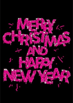 Pink zombie lettering merry christmas and happy new year
