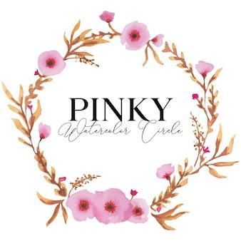 핑키 꽃 원형 수채화 일러스트