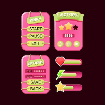 Pinky game ui kit of board pop up interface and bar for gui asset elements
