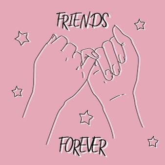우정의 날을위한 핑키 약속 사진