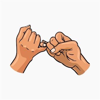Pinky promise vector illustration cartoon clipart