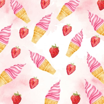 Pinky strawberry sundae watercolor composition illustration