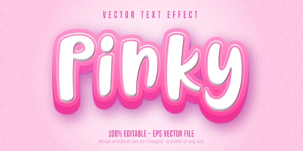 Pinky text, cartoon style editable text effect
