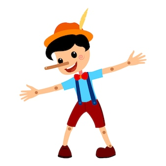 Pinocchio tale vectorial illustration.