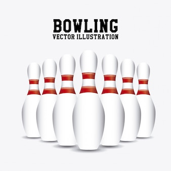 Pins bowling over white background vector illustration