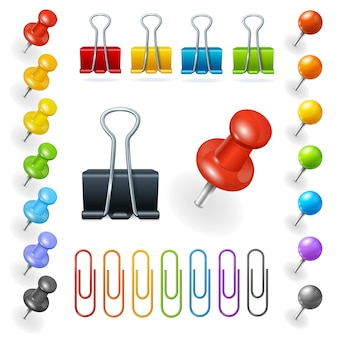 Pins and paper clips collection. vector illustration