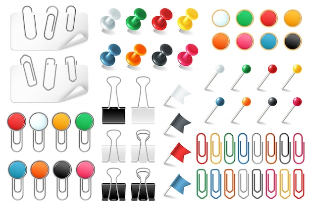 Pins paper clips. push pins fasteners staple tack pin colored paper clip office organized announcement, realistic  set