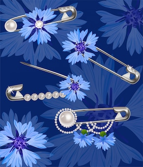 Pins with cornflower and pearls.