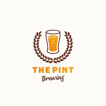 The pint brewery abstract  retro symbol or logo template. vintage typography premium brewing sign.
