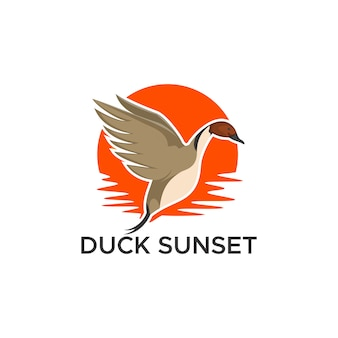 Pintail duck sunset vector illustration