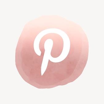 Vettore di logo di pinterest nel disegno dell'acquerello. icona dei social media. 2 agosto 2021 - bangkok, thailandia