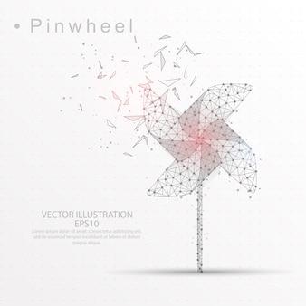 Pinwheel digitally drawn low poly triangle wire frame.